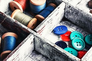 box with sewing tools