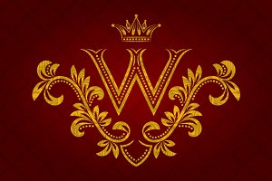 Patterned golden letter W monogram