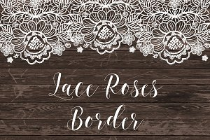 Vector Lace border roses