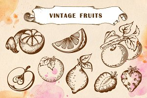 Set of vintage fruits