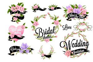 37 Wedding Floral clipart set