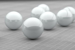 White spheres 3d rendering