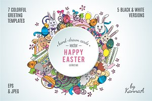 Happy Easter template greetings set
