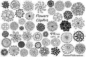 44 Hand Drawn Flowers clipart