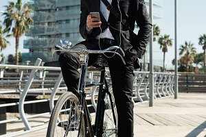 Businessman bicycle telephone