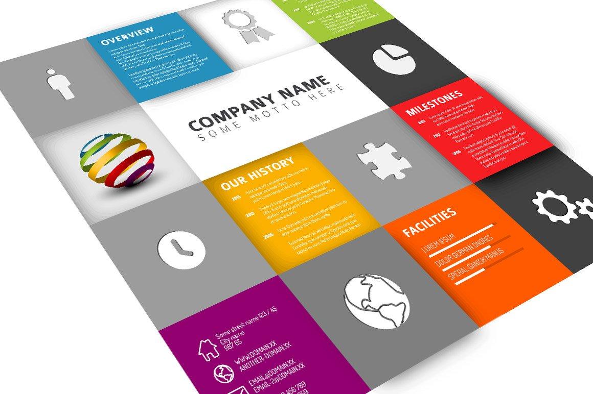 Mosaic Company Profile Presentation Templates Creative Market