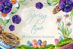 Springtime - 19 watercolor clip arts