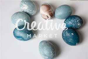 Easter eggs painted blue