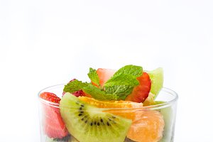 Fresh fruit salad. White background