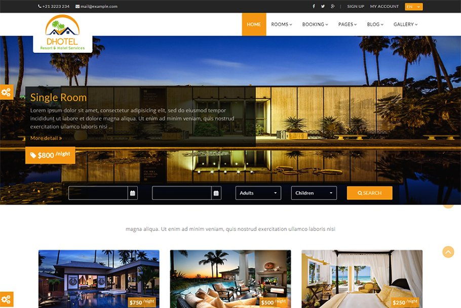 Dhotel-Hotel & Resort Website Theme