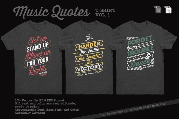 Music Quotes T-Shirt Template Vol…