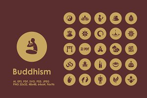 Buddhism simple icons