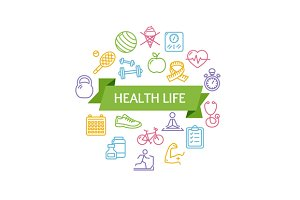 Health Life Fitness Concept. Vector