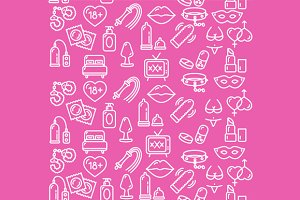 Intim or Sex Shop Background. Vector