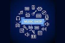 Music Shop Concept. Vector
