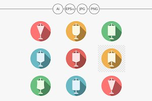 Pennants round color vector icons