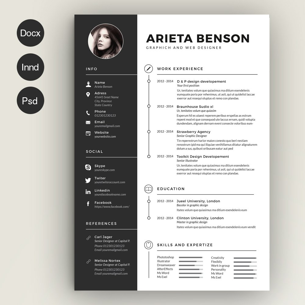 clean cv-resume ~ resume templates ~ creative market