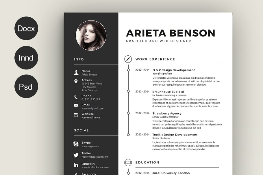 Clean Cv Resume Templates Creative Market