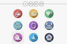 Sea theme flat color icons. Part 1