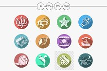 Sea theme flat color icons. Part 2
