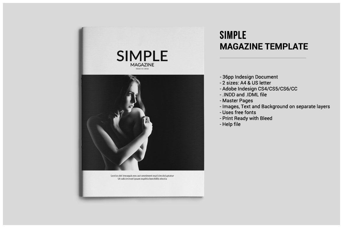 simple magazine template magazine templates creative market. Black Bedroom Furniture Sets. Home Design Ideas