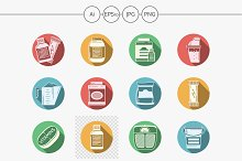 Sport diet flat color vector icons