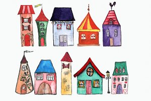 11 Watercolor Houses Clip Art