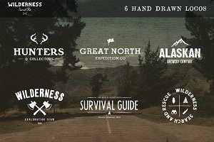 6 Hand Drawn Logos + Bonus Icons
