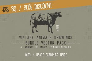 Vintage Animal Drawings Bundle