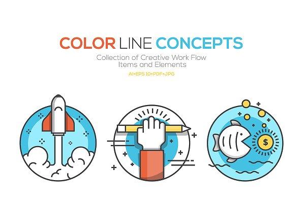 Flat Color Line Design Concepts