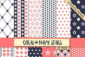 Coral and navy blue stars.