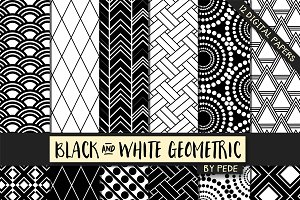 Black and white geometric papers.