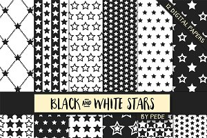 Black and white stars digital paper.