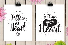 Follow your heart, cards with quote