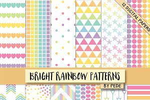 Bright rainbow patterns.
