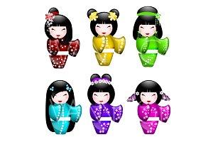 6 Japanese Kokeshi Dolls