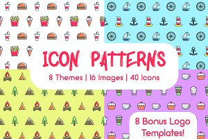 Icon patterns bundle/8 Themes/50%off