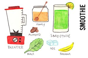 Smoothie Watercolor Illustrations
