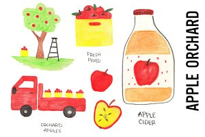 Apple Orchard Doodle Clipart