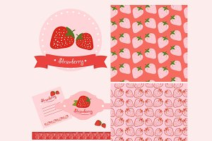 Set of strawberry labels, pattern