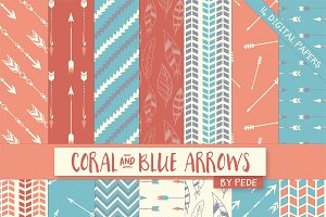 Coral and blue arrows.