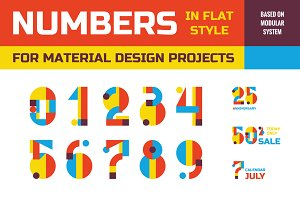 Numbers in Flat Style - Vector Set
