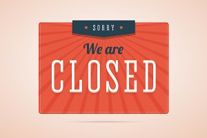 We are closed sign