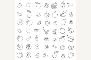 Doodle set of different fruits