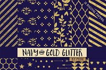 Navy blue and gold glitter.