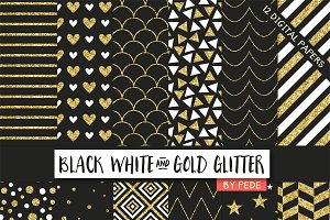 Black white and gold glitter.