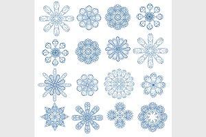 blue circular ornament set.
