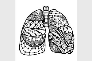 Hand drawn sketched lungs