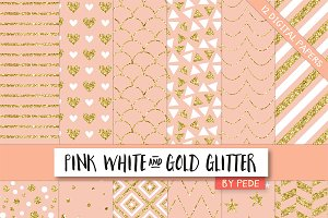 Pink white and gold glitter.