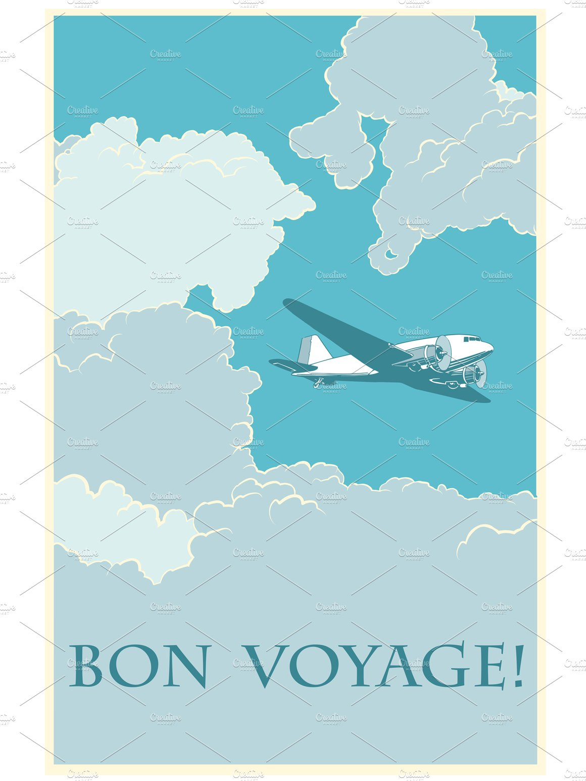 retro airplane bon voyage illustrations creative market. Black Bedroom Furniture Sets. Home Design Ideas